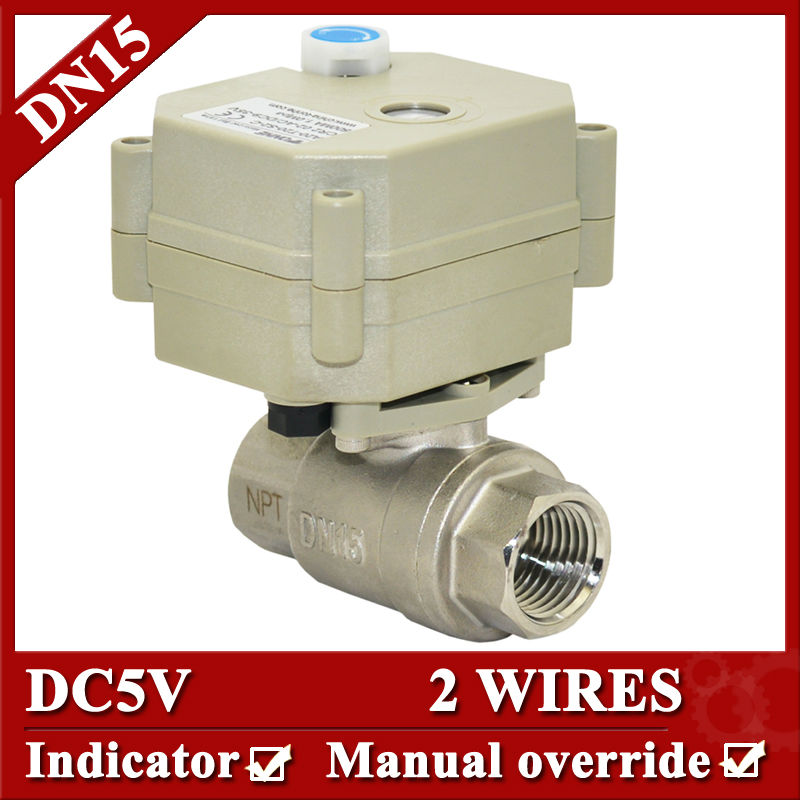 1/2  water electric valve DN15 Motorized valve SS304,2 wire control with manual override for water clean,heating manual control valve f64ac for water softener