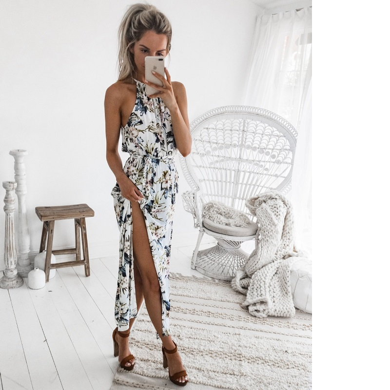 Women Long Maxi Dresses Bohemia Sleeveless Floral Print Ethnic Summer Beach Female Split Stylish Asymmetrical Dress Vestid