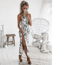 Women Long Maxi Dresses Bohemia Sleeveless Floral Print Ethnic Summer Beach Female Split Stylish Asymmetrical Dress Vestid(China)