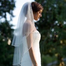 Двухслойная белая или свадебная вуаль цвета слоновой кости вуаль из тюля для невесты с расческой