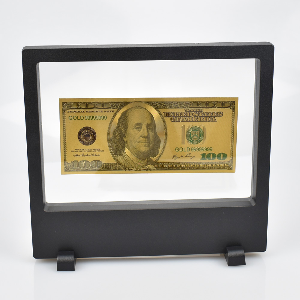 USD Золотая фольга Банкнота с демонстрационной подставкой 100 50 20 10 5 2 1 доллар поддельные деньги для сбора