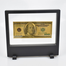 USD Gold Foil Banknote with Showing Stand 100 50 20 10 5 2 1 Dollar Fake Money For Collection