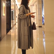 Poncho Hot Sale Cotton Spandex Full Pull Women Sweater 2017 Spring New Cardigan Plain Knit Coat Long Loose Hooded Knitted