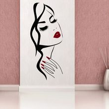 Nail Art Salon Wall Decal Hand Girl Face Sticker Manicure Shop Decoration Beauty Hairstyle Murals AY1677
