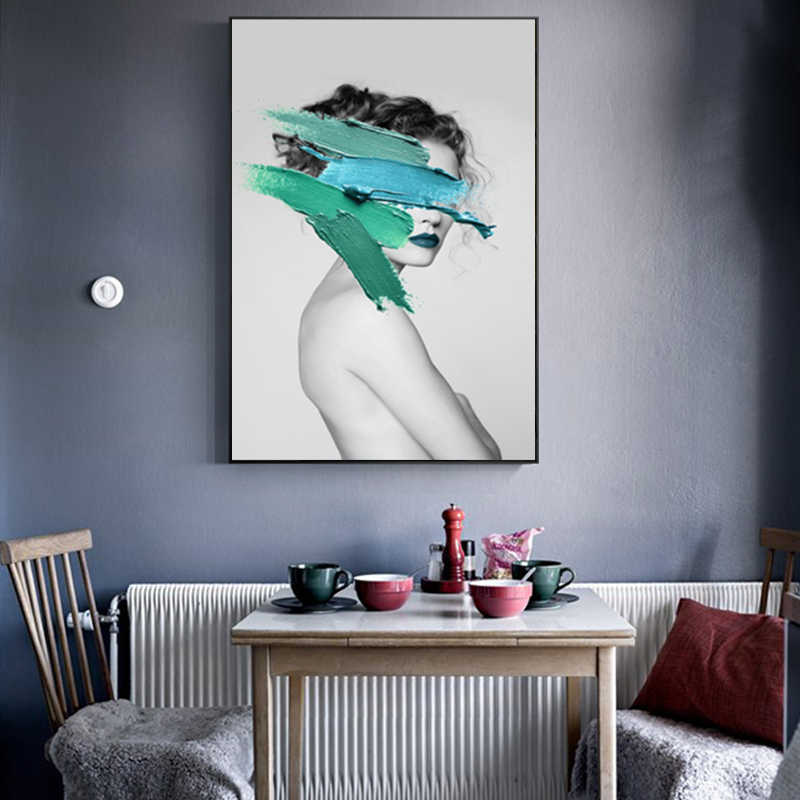 Wall Art Abstract Pictures Fashion Woman Pigment Yellow And Blue Green Model Modern Home Canvas Painting Beauty Decor Posters