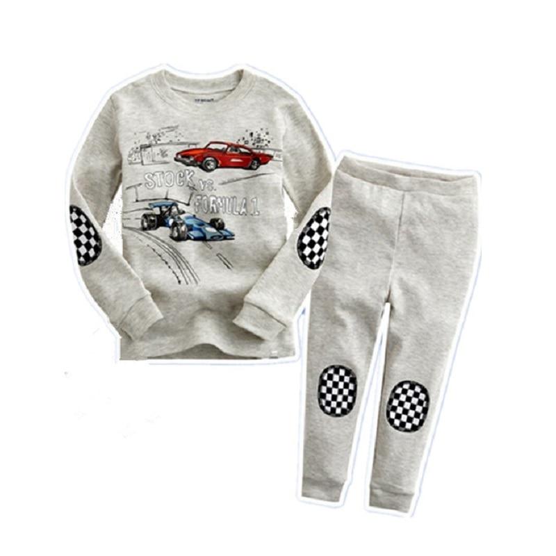 2018 Spring Children Pajamas Speed Racing Boys Sleepwear 100% Cotton Character Blue Kids Sport Suit Baby clothing set Pyjamas