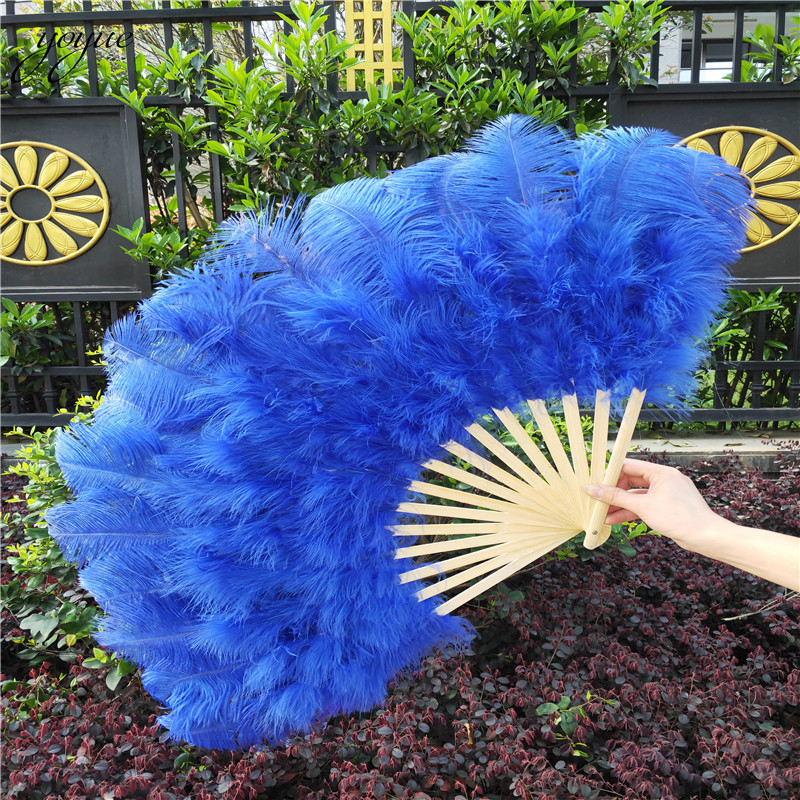 Image 3 - YOYUE 15 Bone Ostrich Feathers Fan Halloween Party Wedding  Celebration Belly Dance Show DIY Decorative Pink Feathers FanFeather