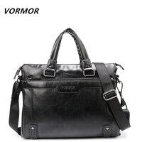 VORMOR Brand Elegance Business Men Briefcase Bag PU Leather Men S 14 Inch Laptop Bag Casual