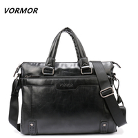 VORMOR Brand Elegance Business Men Briefcase Bag PU Leather Men S 14 Inch Laptop Bag Casual