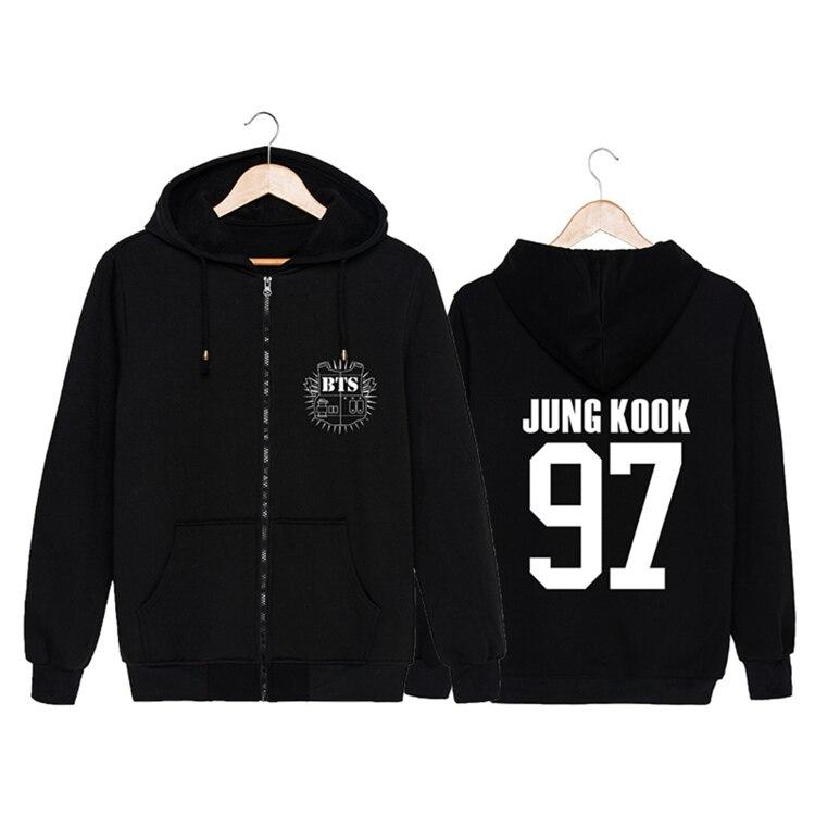 2017 new kpop Bangtan Boys bts Same unisex Hooded zipper Hoodie k-pop bts Plus velvet loose casual jacket Sweatshirt coat