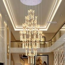 Modern Crystal Chandeliers LED Lamp American Long Bubble K9 Crystal Chandelier Lights Fixture Pendant Lamps Home Indoor Lighting