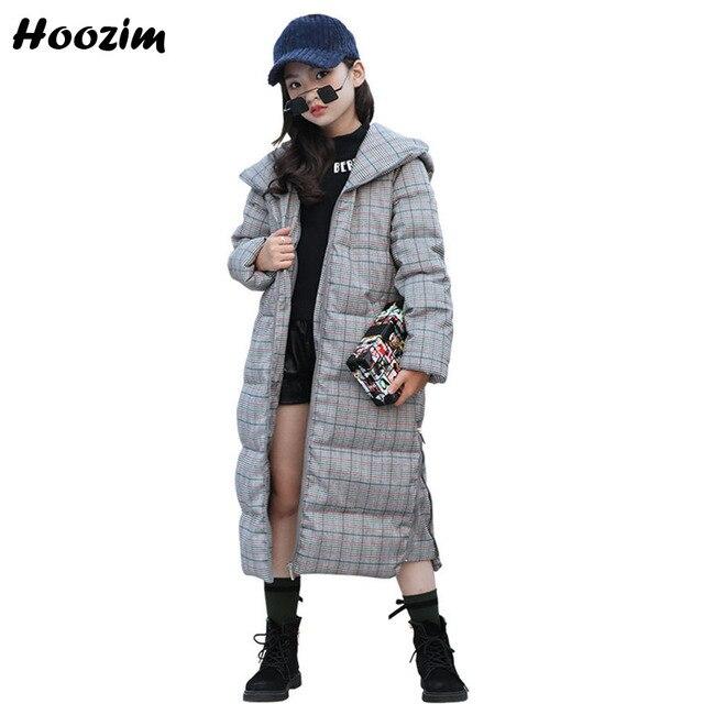 Cheap Winter Long Jacket For Girls 7 8 9 10 11 12 13 Years Cool Khaki Parka Children European Kids Outerwear Gray Plaid Coat For Girls
