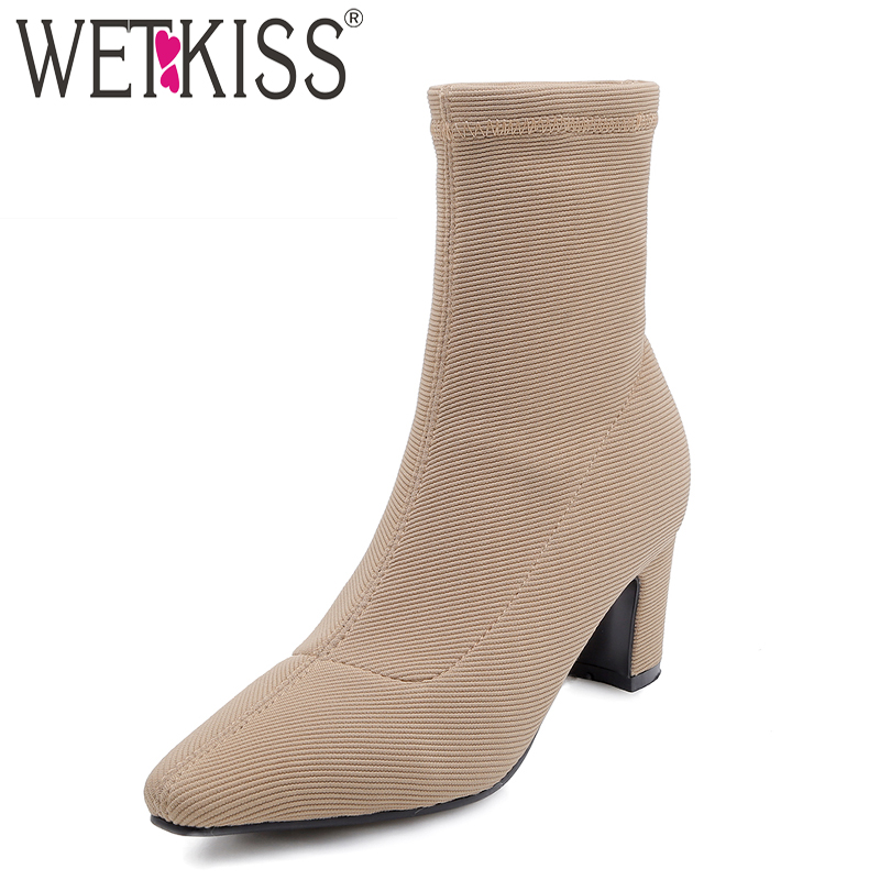 WETKISS Stretch High Heels Women Ankle Boots Pointed Toe Zip Footwear Thick Plush Female Boot Sock