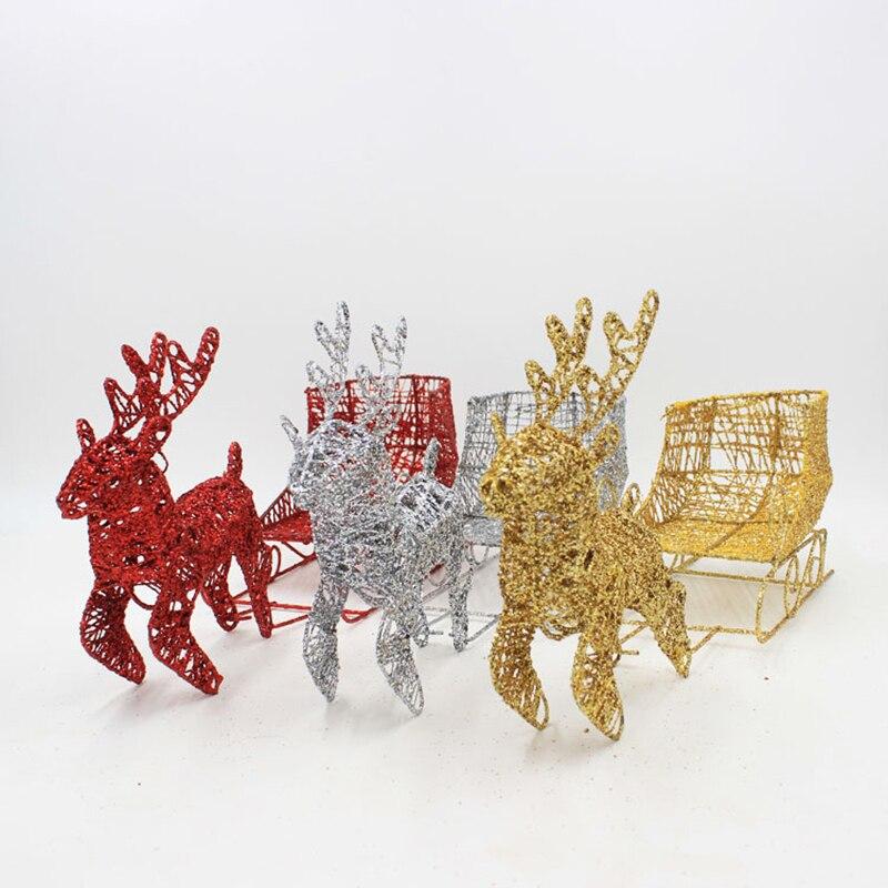 2019 Iron Art Kerst Herten Met Ski Bob Artikelen Voor Festival Home Decor Party Decoratie Tafel Ornament Prop Levert Structurele Handicaps