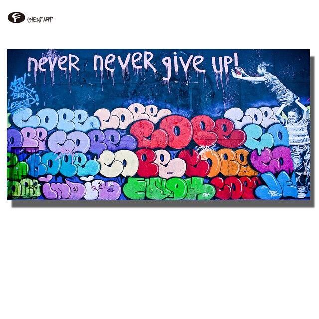 CHENFART Wand Kunst graffiti straße Abstrakte Nie Aufgeben Poster ...