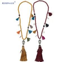 Винтажные четки ручной работы деревянные бусины длинное ожерелье