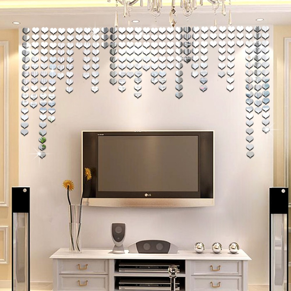 Heart wall stickerss100pcs 2x2cm 3d mosaic wall sticker mirrors heart wall stickerss100pcs 2x2cm 3d mosaic wall sticker mirrors romantic heart mirror living room background in wall stickers from home garden on amipublicfo Gallery