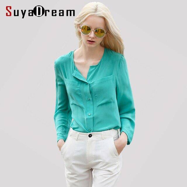 75fb2620a4 100% Natural de SEDA blusa mulheres manga comprida blusa chiffon Sólida  Blusas femininas Office lady
