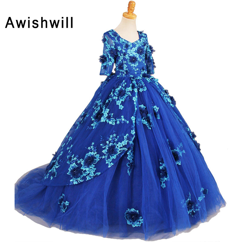 Photography 2019 Girls Pageant Dresses With Half Sleeves Blue Ball Gown Appliques Tulle Flower Girl Dresses For Little Girls