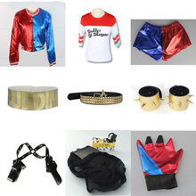 Suicide Squad Harley Quinn Cosplay Costume accessories Collar Bracelet Belt Golve T-shirt Coat Jacket suits fancy ball party(China)
