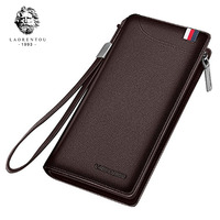 LAORENTOU Men Wallets Genuine Cow Leather Long Clutch Zipper Wallets For Business Men Soft Leather Clutch