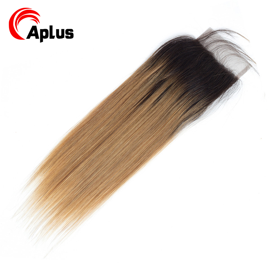 Aplus Hair Honey Blonde T1b/27 Ombre Peruvian Straight Hair Non Remy 100% Human Hair Closure With Baby Hair Free Shipping