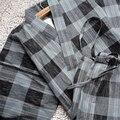 Quimono japonês tradicional Yukata homens Cotton Linen da xadrez Pijama salão dos homens calções de verão desgaste