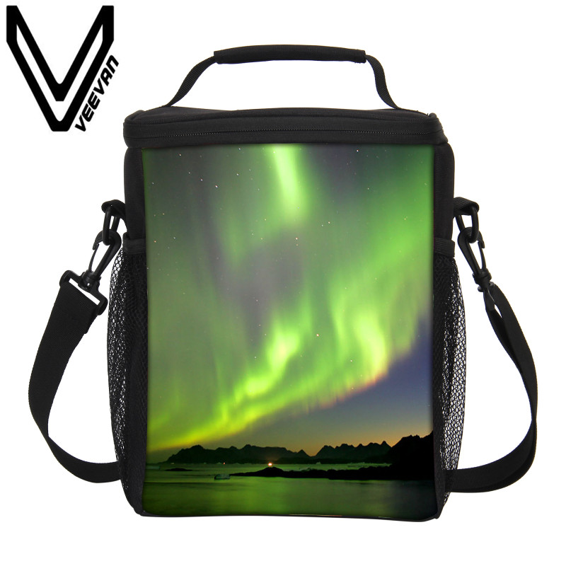 VEEVANV Brand Aurora Image Thermo Lunch Box Thermal Insulated Picnic Food Handbag Large Lunch Bags Storage Container Cooler Bags