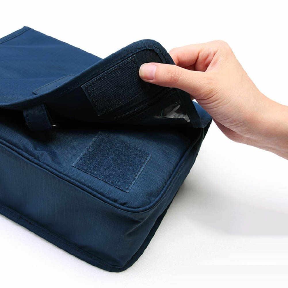 ポータブルトラベルコスメティック化粧収納袋折りたたみトイレタリーケースポーチオーガナイザーメイクツールコンテナ新