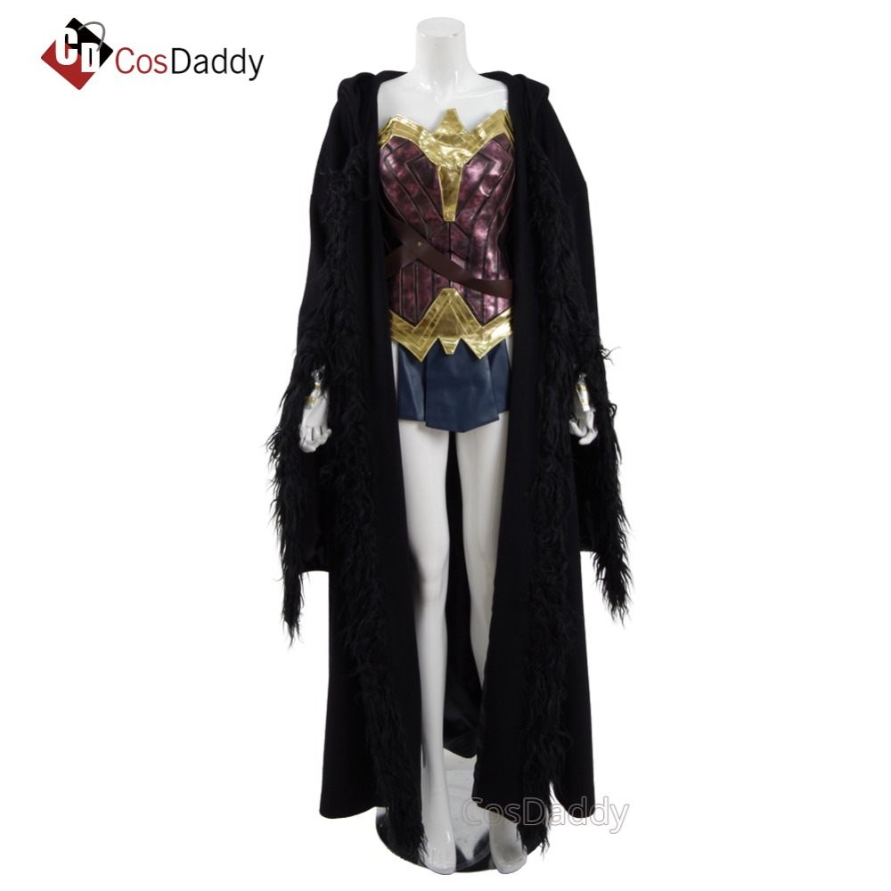 Diana Cosplay Costume Battle Suit Black Cloak top skirt belt Wrist protectiont headwear CosDaddy