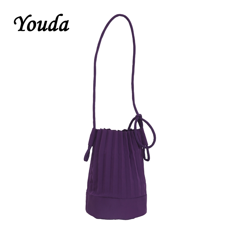 Youda Solid Color Simple Bucket Packet Fashion Ladies Large Capacity Shoulder Bags Adjustable Pleated Crossbody Bag Casual TotesYouda Solid Color Simple Bucket Packet Fashion Ladies Large Capacity Shoulder Bags Adjustable Pleated Crossbody Bag Casual Totes