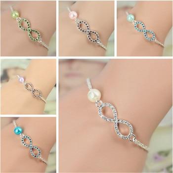 OBSEDE 2017 Fashion Jewelry Best Bridesmaid Gift Infinity Bracelet New Heart Rhinestone Imitation Pearl Silver Plated Bracelet