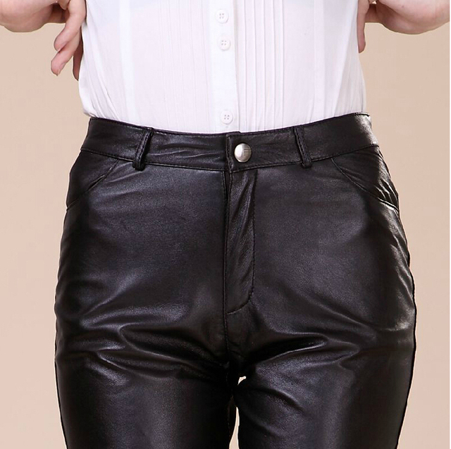 25-32 ! Women's Genuine Leather Sheep Skin Leather Pants Long Pencil Pants Plus Size Trousers Slim Package Hip Slim Hip