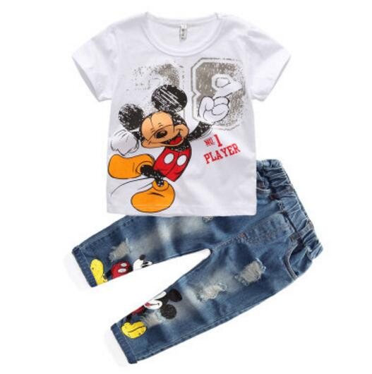 65b39dac3 Kids Mickey Clothes Boys Summer Clothing Sets Baby Boys Summer Style Tee  Shirts+Jeans Pants Clothes 2 Piece Children Clothing