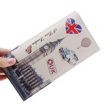 Excellent Quality Women Long Wallet Smooth Leather UK Flags Style Lady Coin Purses Clutch Wallets Money Bags