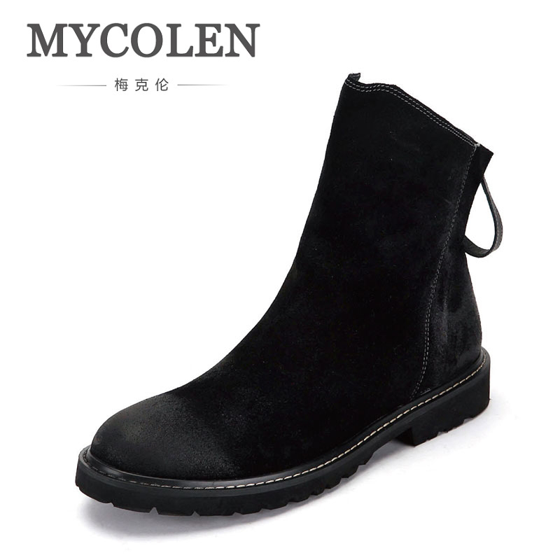 MYCOLEN Black Suede Leather Luxury Product Men Boots Boots Side Zip Men Fashion Boots Men Shoes Lace-Up Male Shoes Adult цены