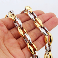 Fashion Coffee Link Chain Necklace Hip Hop Gold/Steel Color Stainless Steel Necklace Chain Jewelry Accessories for Men Women stylish solid color chain necklace for men