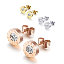 Stainless Steel Stud Earrings for Women Silver Gold Rose Roman Numeral Female Fashion Jewelry