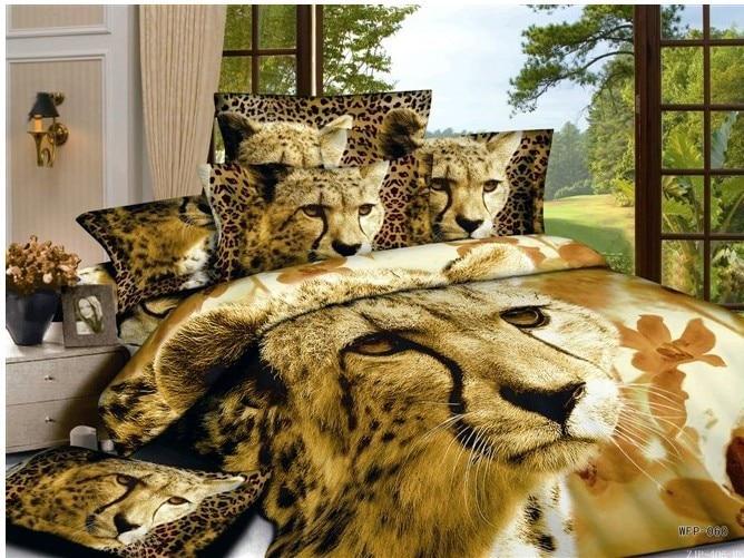 3d Brown Lion Animal Print Bedding Comforter Set For Queen