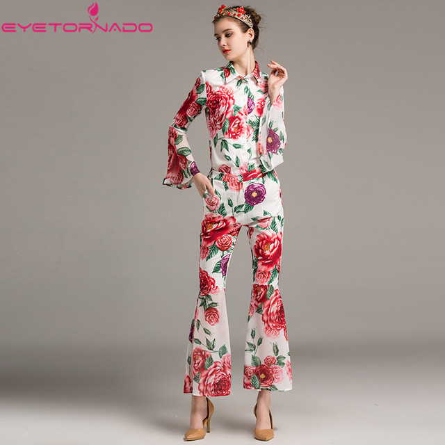 Women Flare sleeve floral print blouse top + long flare pant suit ladies summer casual work office runway two pieces set E1211
