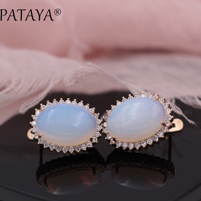 PATAYA New Arrivals Onyx Natural Stone Big Dangle Earrings For Women White Cubic Zircon  585 Rose Gold Wedding Party Jewelry