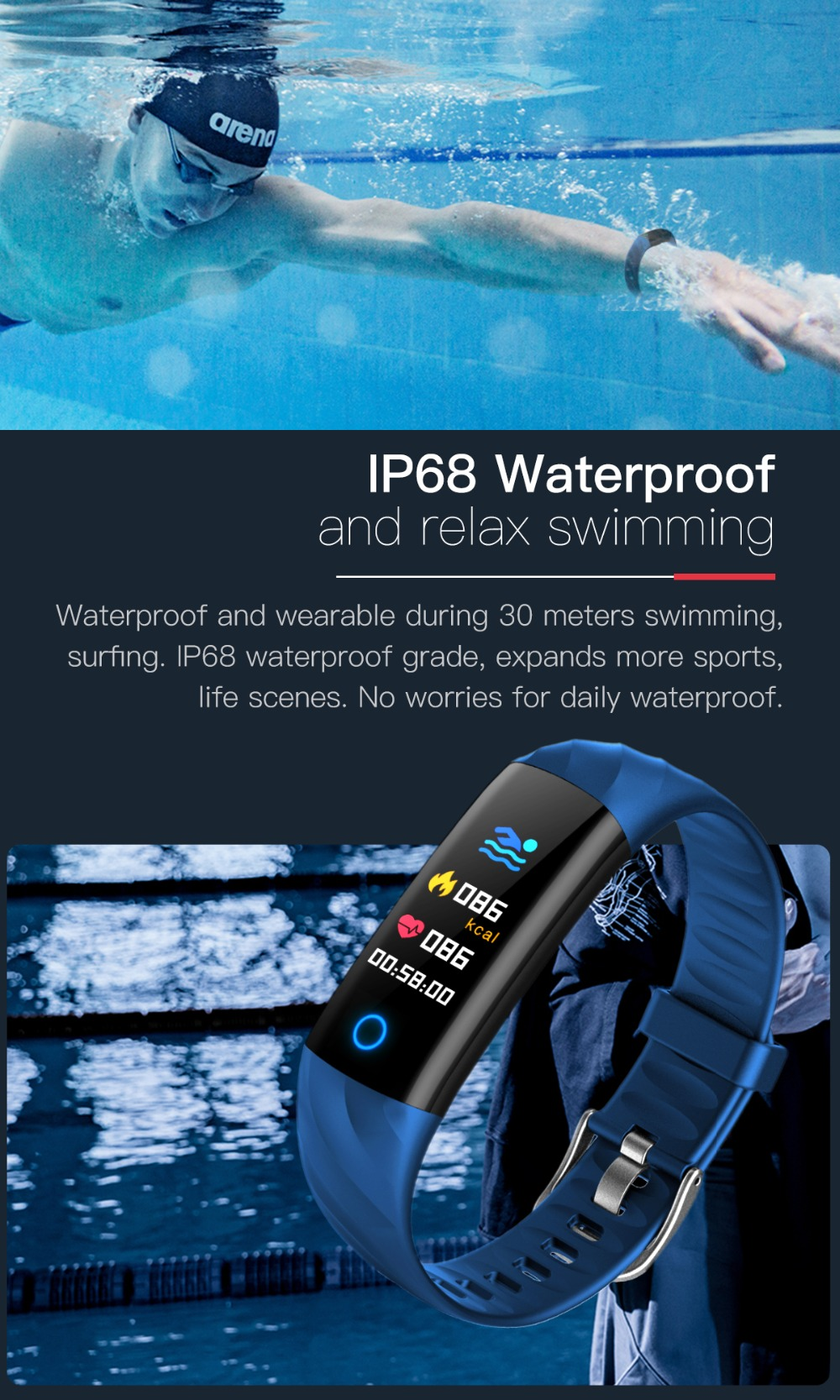 Torntisc S5 Heart Rate Fitness Bracelet IP68 Waterproof Blood pressure oxygen Monitor Color Screen Activity Tracker Smart Band Watch (5)