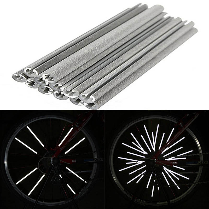 Hot 12pcs bicycle wheel rim spoke bike mount tube warning light strip reflector car