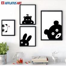 AFFLATUS Rabbit Bear Panda Hippo Wall Art Print Canvas Painting Nordic Poster Black White Animals Pictures Kids Room Decor