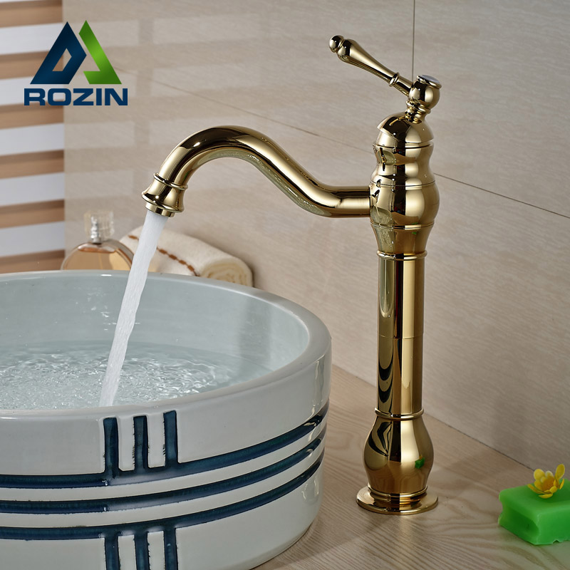 Good Quality Bathroom Sink Vessel Faucet Single Handle Basin Mixer Tap Gold Golden Finished good quality wholesale and retail chrome finished pull out spring kitchen faucet swivel spout vessel sink mixer tap lk 9907