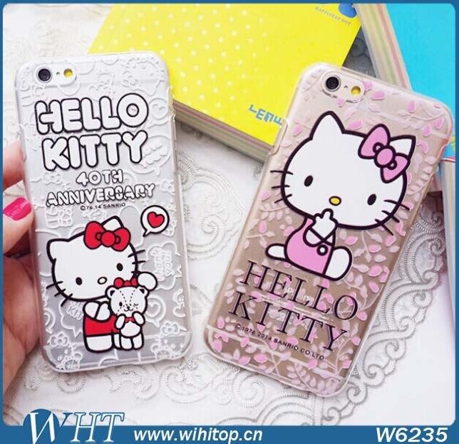 bee328177 50x Deluxe Hello Kitty Clear Case para el iPhone 6 más, lindo impresión  duro para el iPhone 6 DHL libre