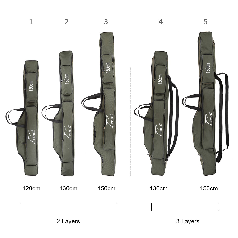 Fddl Fishing Bags 120/130/150cm Multifunctional Fishing Rod Bags Case Fishing Tackle Bag Canvas Fishing Real Gear Lure Pole Tool