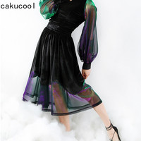 New Design Fashion Women Black Fleece Swing Skirt Mesh Patch Transparent Empire Skirts Knee-length A-line Slim Fairy Skirt