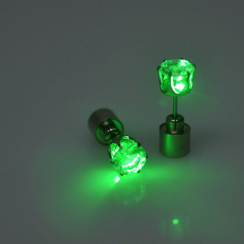 Color Led Earrings Light Up Glowing Studs Ear Ring Drop: 1 Pieces Light Up LED Earrings Studs Flashing Blinking