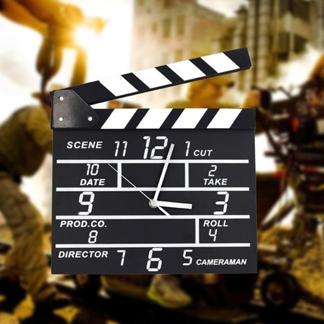 Black Notepad Wall Clock Clapper Film Modern Home Movie Set Clock Home  Office Decor Cinema Movie Slate Analog Wall Clock
